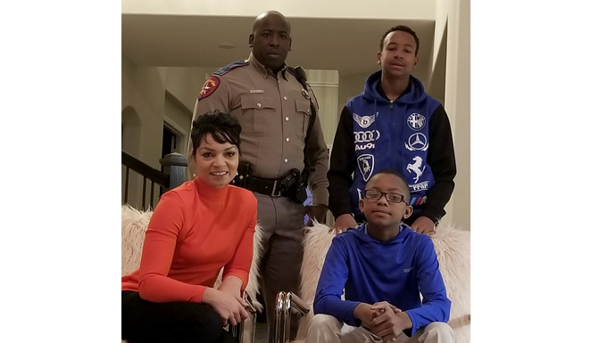 The Williams family (clockwise from lower left) Mea, Derrick, Tyjae and Jaden. Derrick is a Texas state trooper as a civilian and a technical sergeant in the Air Force Reserve's 74th Aerial Port Squadron at Joint Base San Antonio-Lackland, Texas. (Courtesy photo)
