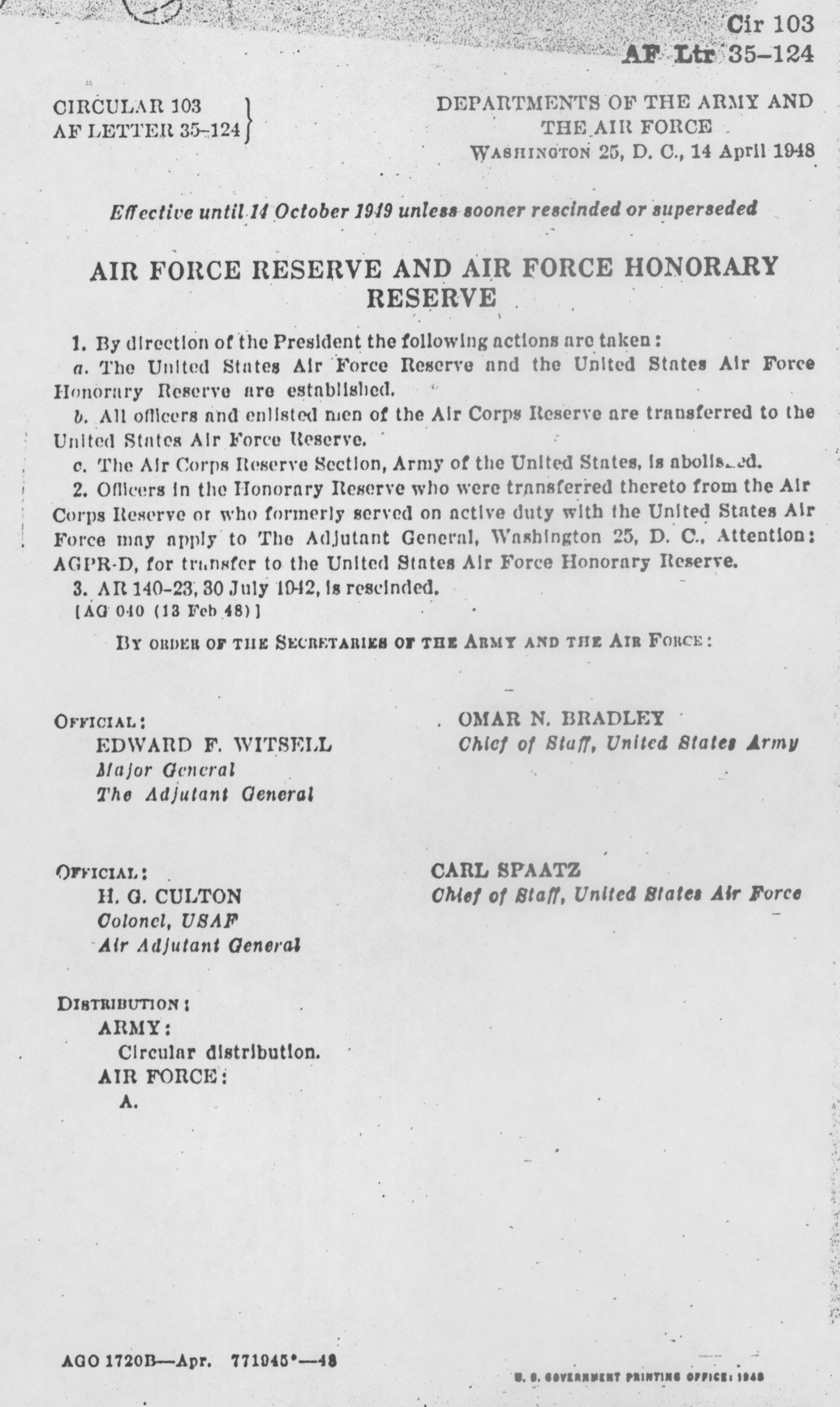 Originating document establishing the Air Force Reserve and Air Force Honorary Reserve,, April 14, 1948