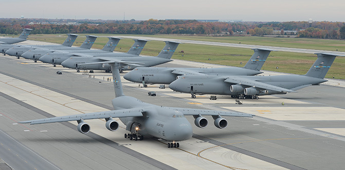 C-5s on the flight line