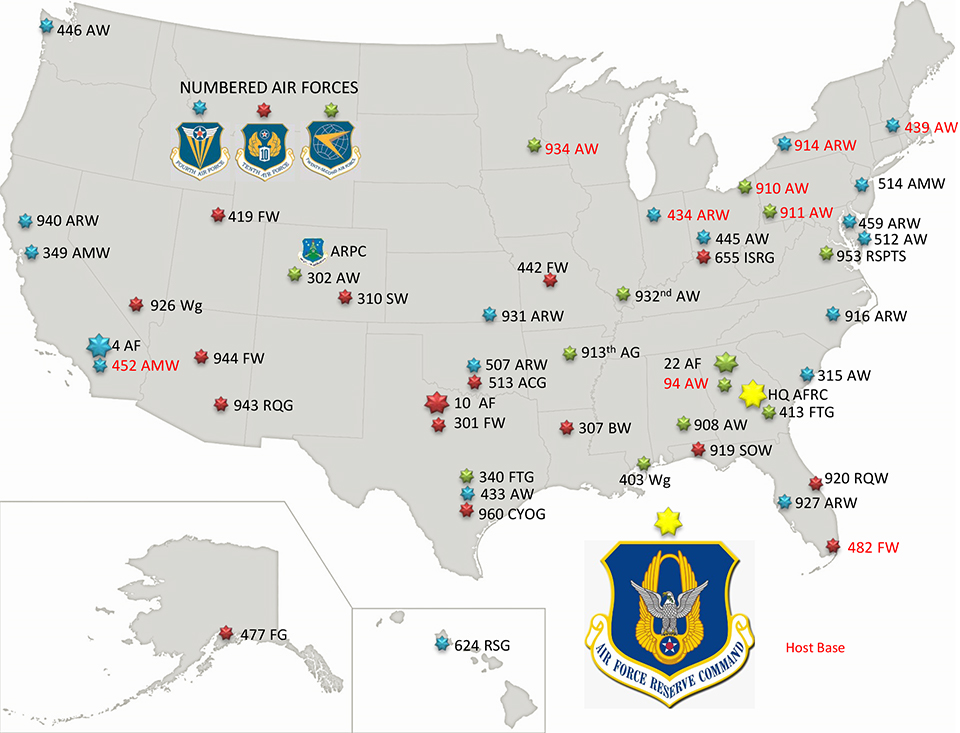 AFRC Units by Numbered Air Force Association
