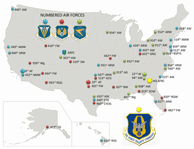Air Force Reserve Command units by Numbered Air Force assigment